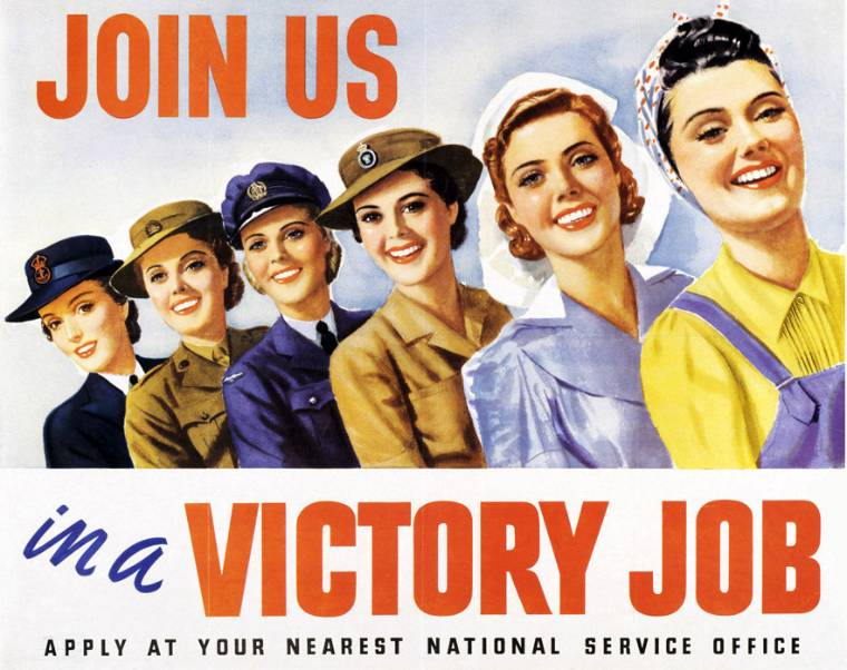 A promotional poster for women at work during WWII
